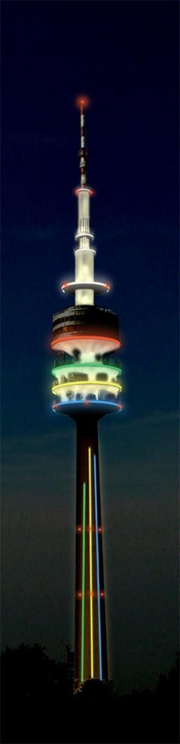 Lichtinstallation Olympiaturm München