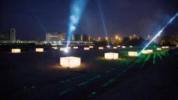 Lichtkunst auf Baustelle
