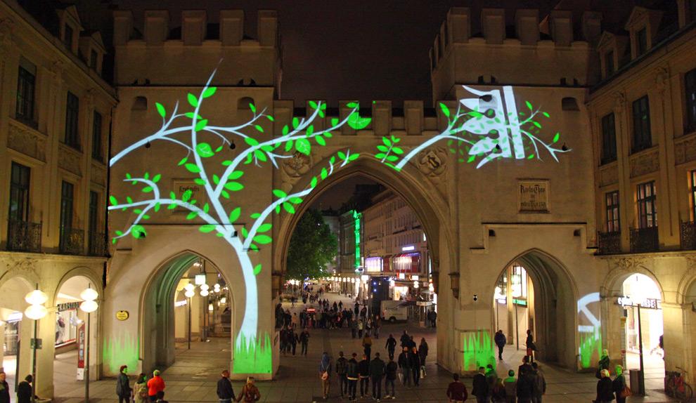 Video-installation, Lichtkunst, Lichtinstallation am Karlstor München