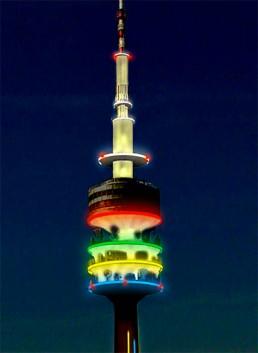 Münchner Fernsehturm Lichtinstallation