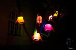 Lichtinstallation für Garten und Gebäude