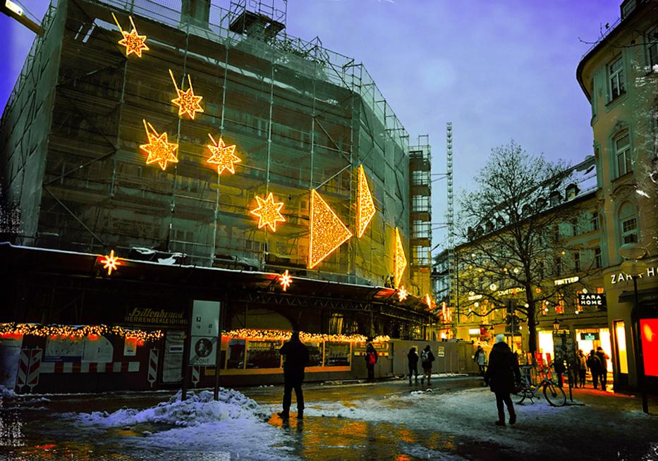 Hochwertige Weihnachtsbeleuchtung.Sternen Weg Christmas Light Art Installation In Den Centre Of Munich